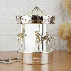 Personalised Carousel Money Box - christening gifts