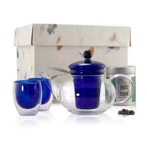 Loose Leaf Classic Blue Glass Teapot Set