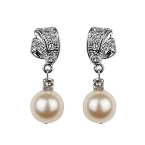 Rhinestone And Pearl Earrings - earrings