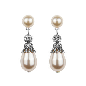 Rhinestone Embellished Pearl Drop Earrings - wedding jewellery