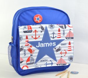 Boys Personalised Nautical Mini Rucksack