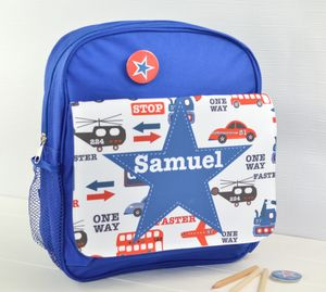 Boys Personalised Transport Print Mini Rucksack