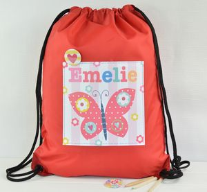 Girls Personalised Butterfly Waterproof Kit Bag - baby & child sale