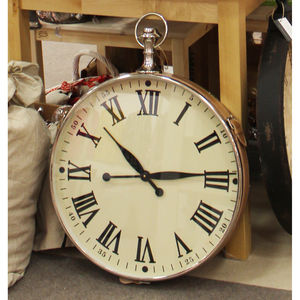 Large Leather Fob Watch Clock