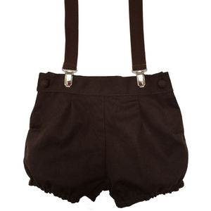 Pepe Dark Brown Shorts With Braces - clothing