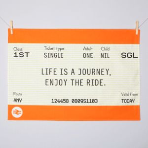 Train Ticket Tea Towel - kitchen accessories
