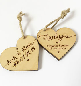 Wedding Favour Heart Tags - heart favours