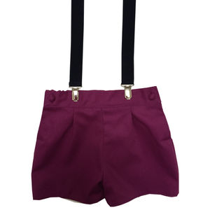 Albertos Crimson Red Shorts With Braces - shorts