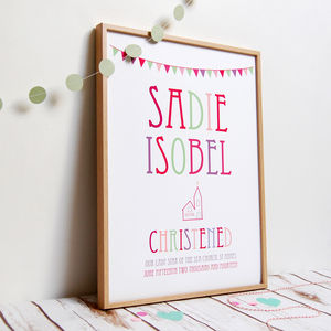 Personalised Christening Print - personalised