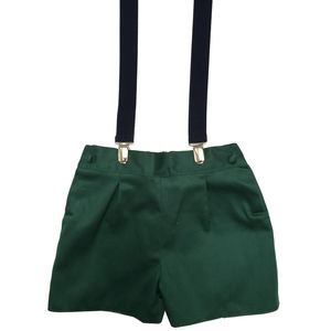 Albertos Green Shorts With Braces - shorts