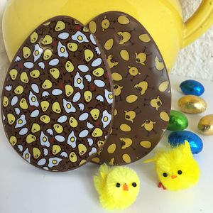 Chocolate Easter Eggs With Chick Design - easter eggs
