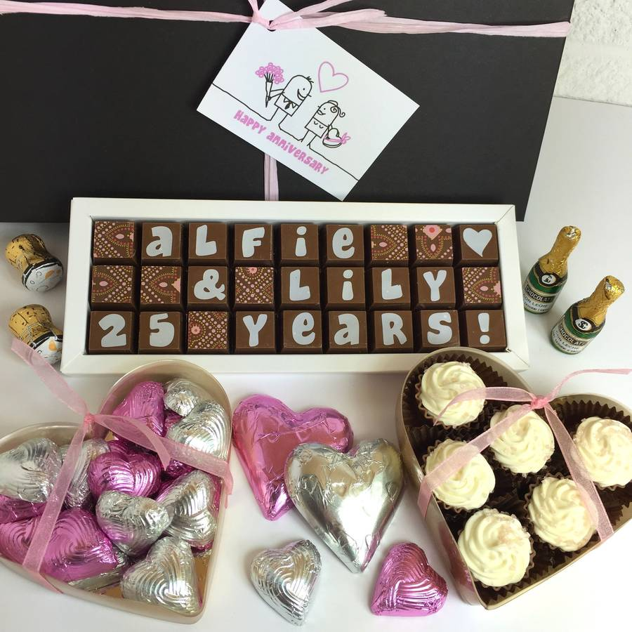 Personalised Wedding Gift Hamper : large personalised silver wedding anniversary hamper by chocolate by ...