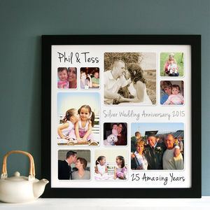 Personalised Silver Wedding Anniversary Photo Collage