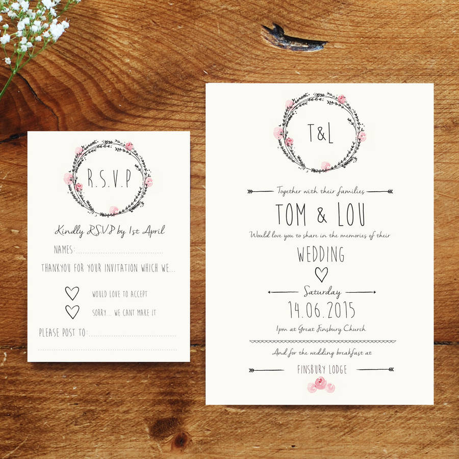 Wedding Invites And RSVP 'S A5