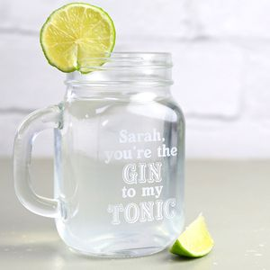 Personalised Engraved Gin Lover's Mason Jar - gifts for her