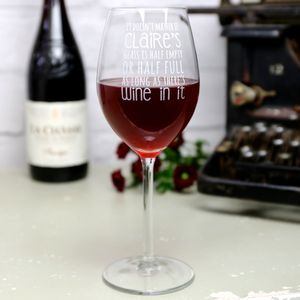 Personalised Engraved Wine Lover's Wine Glass - glassware