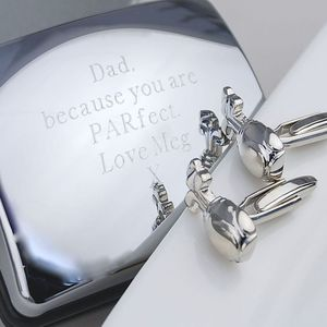 Personalised 'Parfect' Dad Golf Club Cufflinks - cufflinks