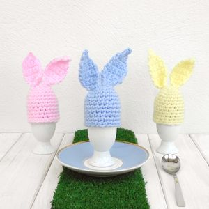 Hand Crochet Pastel Bunny Rabbit Egg Cup And Cosy - kitchen