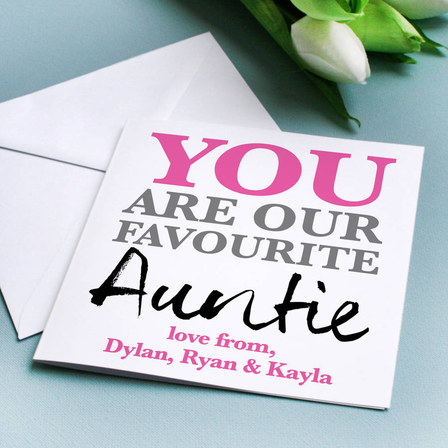 Personalised favourite auntie birthday card by a type of design personalised favourite auntie birthday card kristyandbryce Choice Image