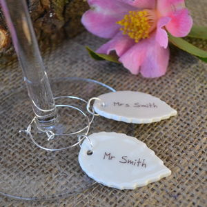 Woodland Style Wedding Glass Charms - table decorations