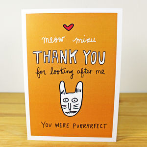 'Thank You For Looking After My Cat/Cats' A6 Card