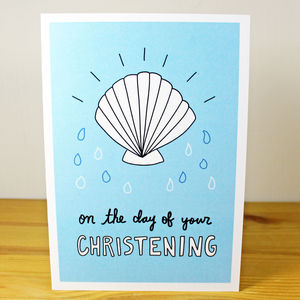 'On The Day Of Your Christening' Shell A6 Card - winter sale