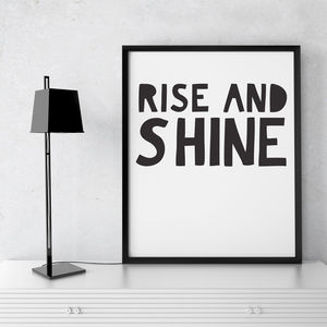 'Rise And Shine' Framed Typographic Print