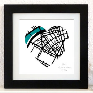 Personalised Map Art Heart - personalised