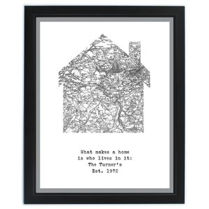 Personalised Map Home Framed Print - prints & art