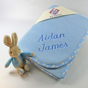 Personalised Blanket With Peter Rabbit Rattle
