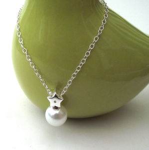 Silver Star And Pearl Necklace