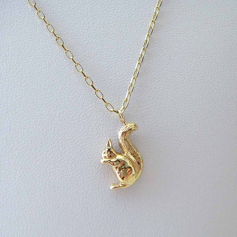 Gold Squirrel Necklace By Heather Scott Jewellery