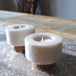 Pair Of Wood And Stone Candle Holders