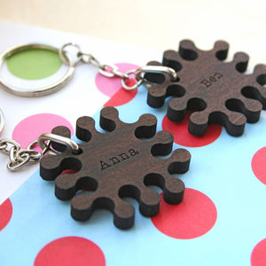 Set Of Two Personalised Wood Jigsaw Keyrings