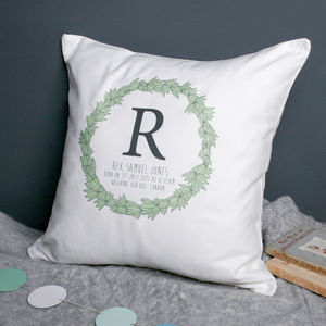 Personalised Christening Initial Cushion