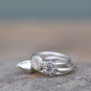 Three Handmade Silver Flower Stacking Rings, Size J - rings
