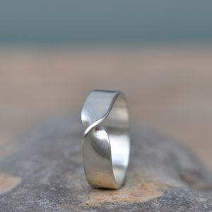 Handmade Silver Infinity Twist Wedding Ring, Size O - rings