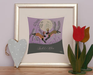 'Moonlight Hares' Personalised Love Print - posters & prints