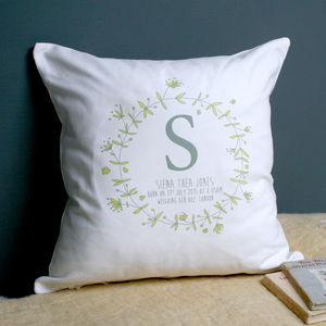 Personalised Christening Wreath Cushion