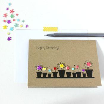 Personalised Flower Pots 'Happy Birthday' Card