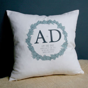 Personalised Wedding Wreath Cushion - cushions