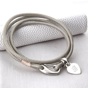 Personalised Silver And Pearl Leather Wrap Bracelet - women's jewellery