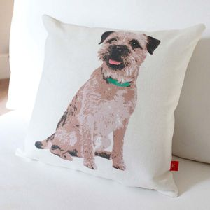 Border Terrier Cream Colour Linen Cushion - patterned cushions