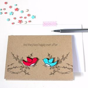 'Happily Ever After' Love Birds Card - wedding, engagement & anniversary cards