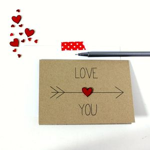 Personalised 'Love You' Arrow And Heart Card