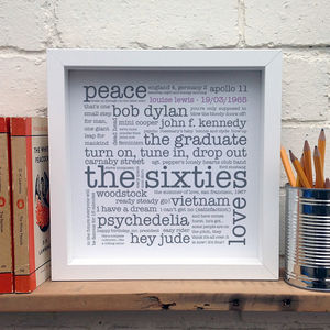 Personalised 50th Birthday Gift; The 1960s - posters & prints
