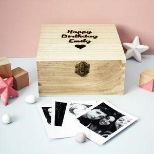 Personalised Polaroid Wooden Box