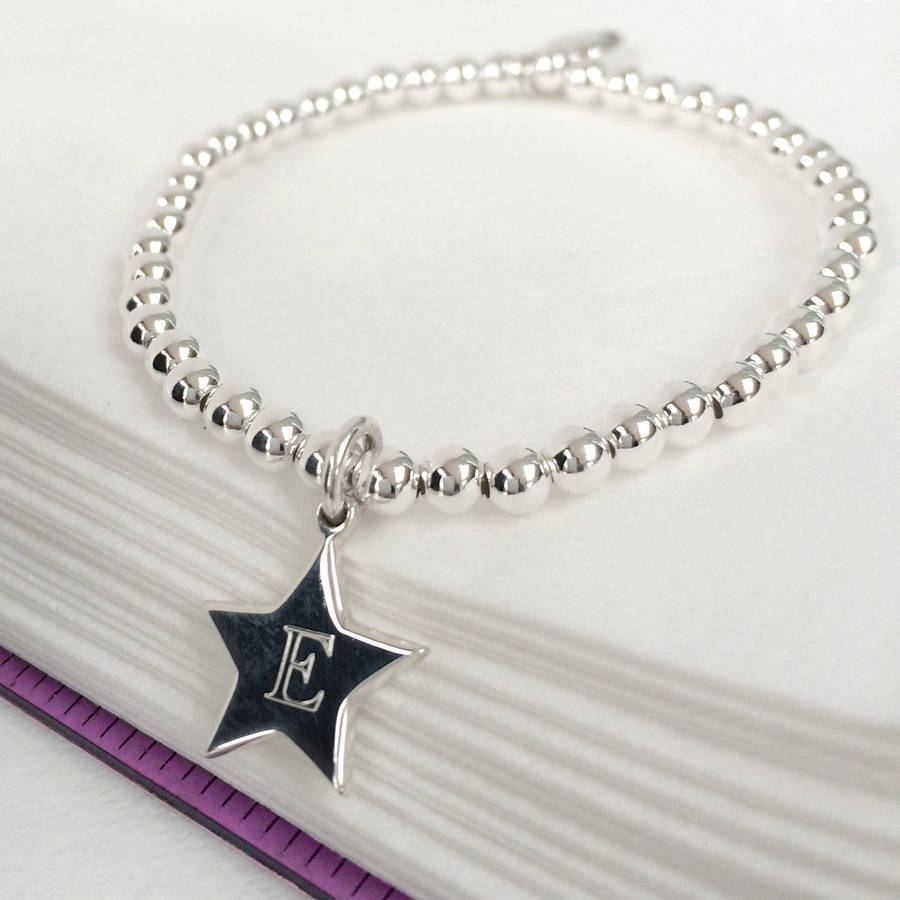 girl\'s personalised sterling silver star charm bracelet by ...