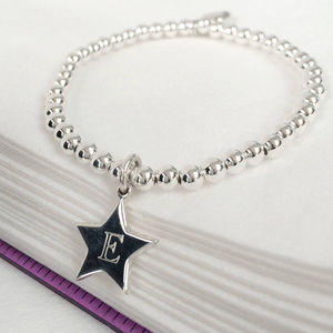Girl's Personalised Sterling Silver Star Charm Bracelet - children's jewellery