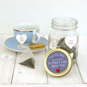 10 Teas I Love About You Gift Jar - afternoon tea gifts